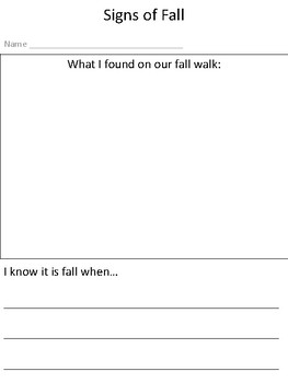 Signs of Fall Graphic Organizer