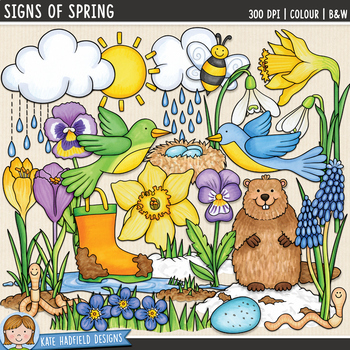 Signs of Spring Clip Art by Kate Hadfield Designs   TpT