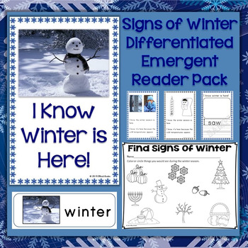 Signs of Winter Differentiated Emergent Reader Pack & Printable Pages