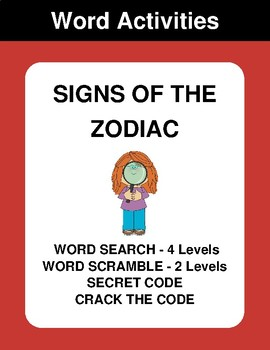 Signs of the Zodiac - Word Search, Word Scramble,  Secret Code,  Crack the Code