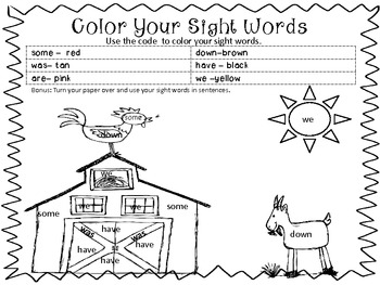 Sigt Word Coloring Pkt