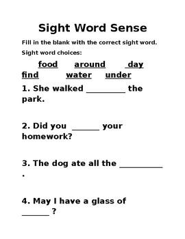 Sight Word Sense Unit 2 wk 5
