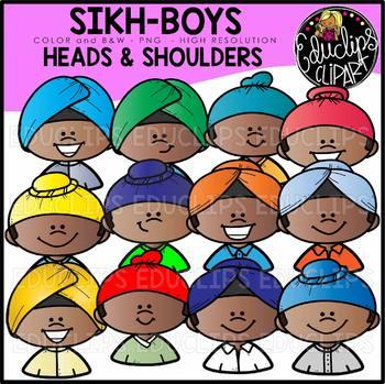 Sikh Boys Heads & Shoulders Clip Art Set {Educlips Clipart}
