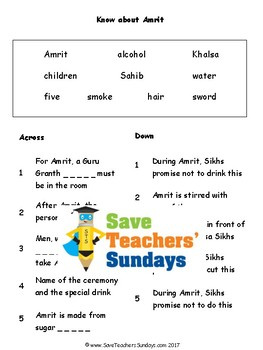 Sikh Ceremony of Amrit Lesson plan & Worksheets (to go with video)