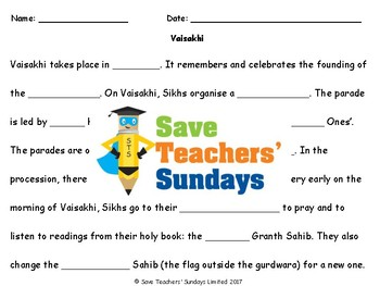 Sikh Festivals: Vaisakhi Lesson plan and Worksheets (with