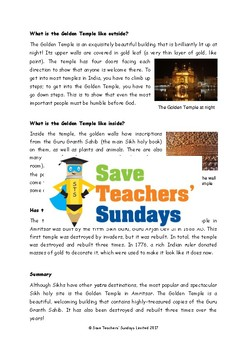 Sikh Golden Temple Lesson plan, Information Text and Worksheet / Activity