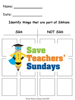 Sikhism Unit (11 lessons - K to 2nd grade)