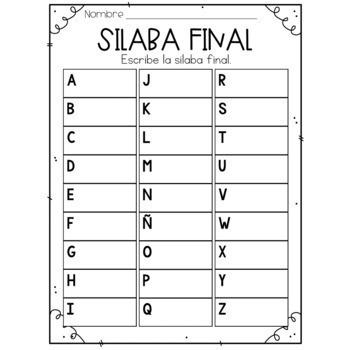 Silaba Final Tarjetas de Trabajo - Spanish Task Cards