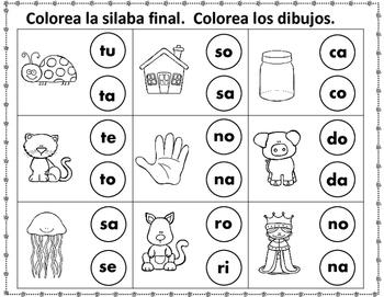 silaba final worksheets dollar deal by bilingual teacher world. Black Bedroom Furniture Sets. Home Design Ideas