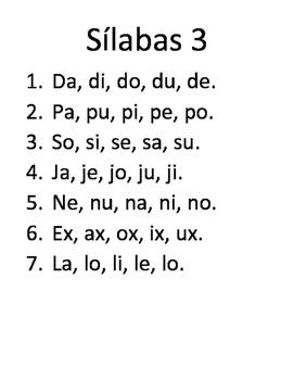 Silabario: Ejercicios en Español para aprender a leer.