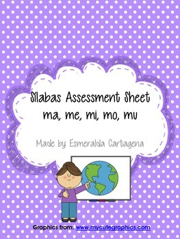Silabas Assessment Sheet ma, me, mi, mo, mu