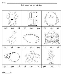 Silabas Assessment Sheet pa, pe, pi, po, pu