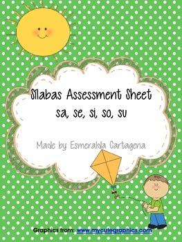 Silabas Assessment Sheets sa, se, si, so, su