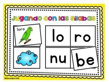 Sílabas - Centros para formar palabras de 2 sílabas , Bundle (m,p,s,t,l,b,r,n)