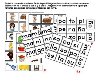 Sílabas - Centro para formar palabras de 2 sílabas / Spanish Syllables (M,P,S,T)