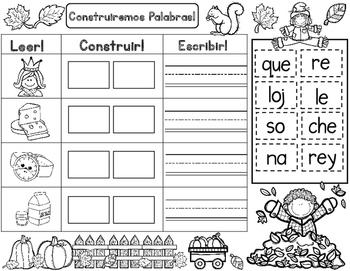 Fall Spanish Word Work: Build It Write It