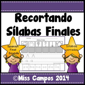 Silabas Finales - Sonidos Finales -  Sorting Spanish Ending Syllables