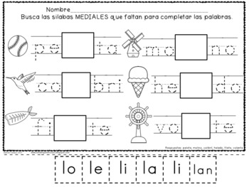 Silabas Mediales - Sorting Spanish Middle Syllables