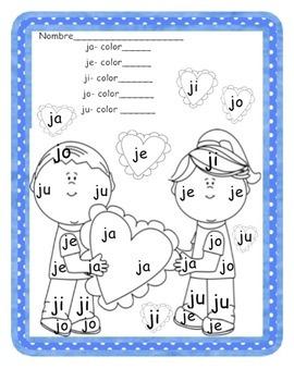 Silabas Para Leer Y Colorear Con La J