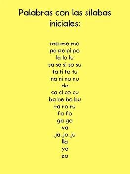 Sílabas-Práctica de Arco Iris (Spanish Syllables Word Work)