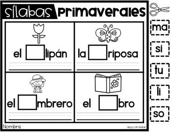 Sílabas Primaverales (Spring syllable practice in Spanish)