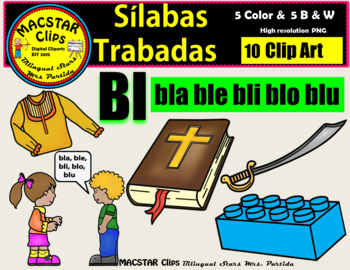 """Silabas Trabadas """"Bl - bl"""" Clip Art Personal and Commercial Use 10 images"""