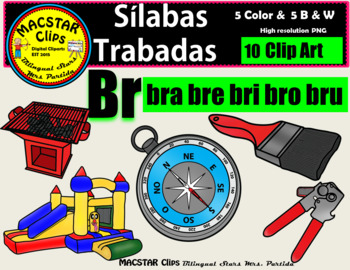 """Silabas Trabadas """"Br - br"""" Clip Art Personal and Commercial Use 10 images"""