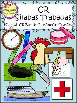 Sílabas Trabadas CR Spanish - CR Blends Clip Art (School Design)