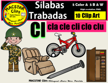 """Silabas Trabadas """"Cl - cl"""" Clip Art Personal and Commercial Use 10 images"""