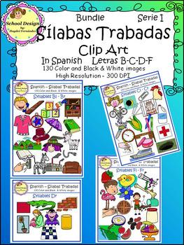Silabas Trabadas Clip Art Spanish Serie I (Spanish Syllables Blends)