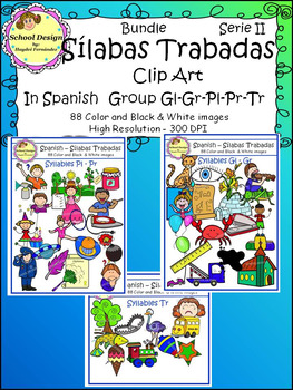 Silabas Trabadas Clip Art Spanish Serie II (Spanish Syllables Blends)