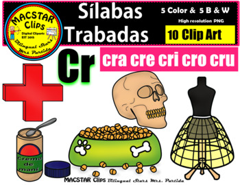 "Silabas Trabadas ""Cr - cr"" Clip Art Personal and Commercial Use 10 images"