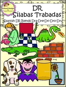 Sílabas Trabadas DR Spanish - DR Blends Clip Art (School Design)