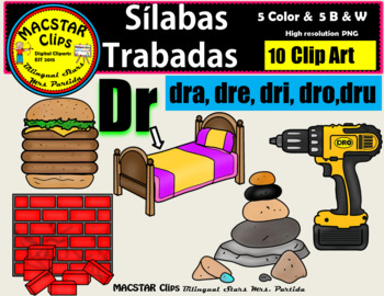 """Silabas Trabadas """"Dr - dr"""" Clip Art Personal and Commercial Use 10 images"""
