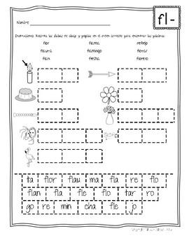 Silabas Trabadas FL- Paquete de actividades {Spanish Consonant Blends}