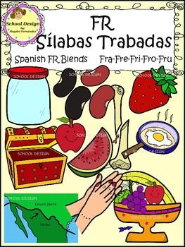 Sílabas Trabadas FR Spanish - FR Blends Clip Art (School Design)