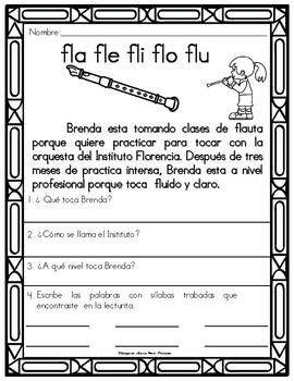 Silabas Trabadas Fl-Fr Lecturitas de Fluidez y Comprension Grupos Consonanticos