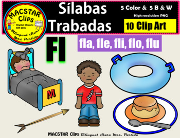"""Silabas Trabadas """"Fl - fl"""" Clip Art Personal and Commercial Use 10 images"""