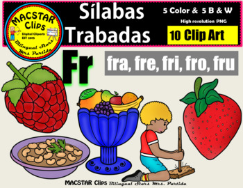 "Silabas Trabadas ""Fr - fr"" Clip Art Personal and Commercial Use 10 images"