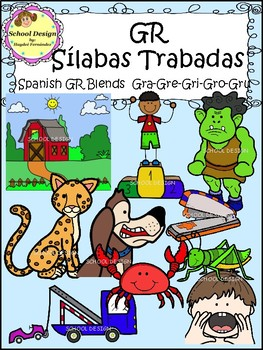 Sílabas Trabadas GR Spanish - GR Blends Clip Art (School Design)