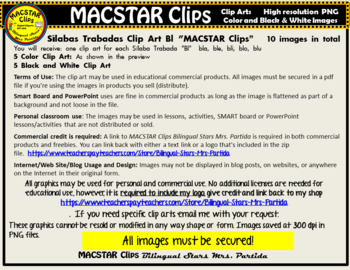 """Silabas Trabadas """"Gl - Gl"""" Clip Art Personal and Commercial Use 10 images"""