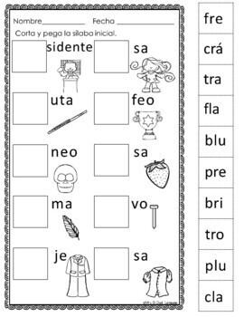 Silabas Trabadas - Hojas de trabajo Spanish Blends-SET 2