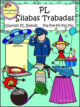 Sílabas Trabadas PL Spanish - PL Blends Clip Art (School Design)