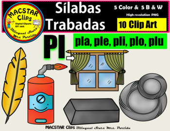 """Silabas Trabadas """"Pl - pl"""" Clip Art Personal and Commercial Use 10 images"""