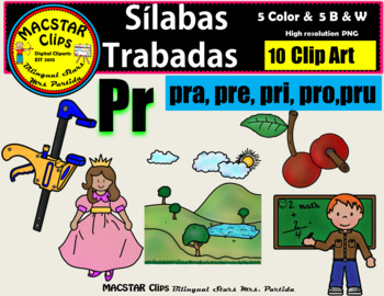 """Silabas Trabadas """"Pr - pr"""" Clip Art Personal and Commercial Use 10 images"""