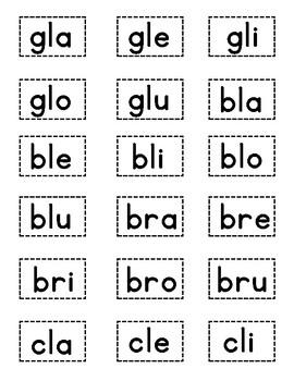 Silabas Trabadas:  EDITABLE CENTER (Syllable Tiles Included!)