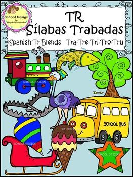 Sílabas Trabadas TR Spanish - TR Blends Clip Art (School Design)