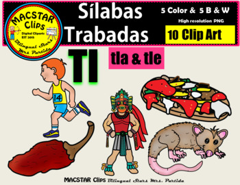 """Silabas Trabadas """"Tl - tl"""" Clip Art Personal and Commercial Use 10 images"""