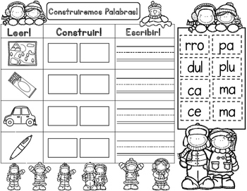 Silabas:  Winter themed Spanish Syllables Word Work, Building Words