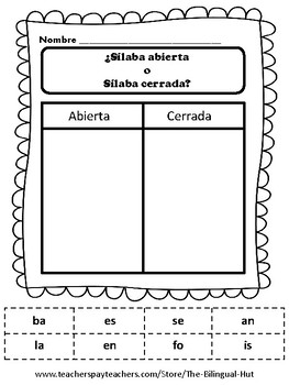 Silabas abiertas y Silabas cerradas (corta y pega)